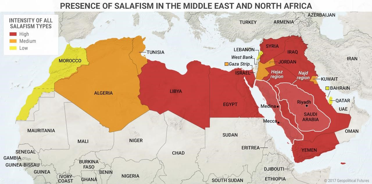 This Map Shows The Presence Of Salafism In The Middle East And North - Been there map
