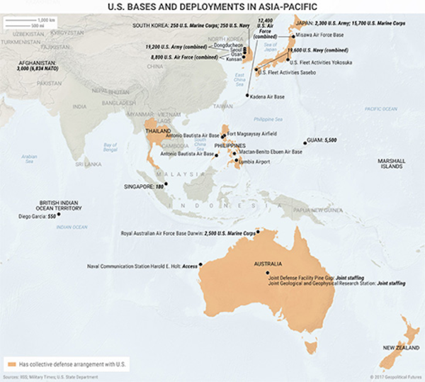 2 Maps That Show The Us Strategy In Asia Pacific Editorial - Pacific-ocean-on-us-map