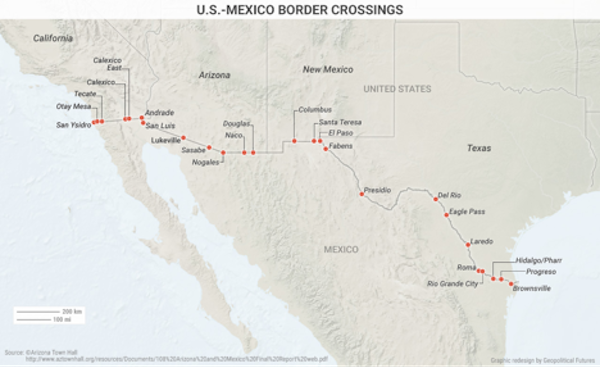 This Map Shows How Much Four Us States Depend On Mexico Editorial - Us-and-mexico-map