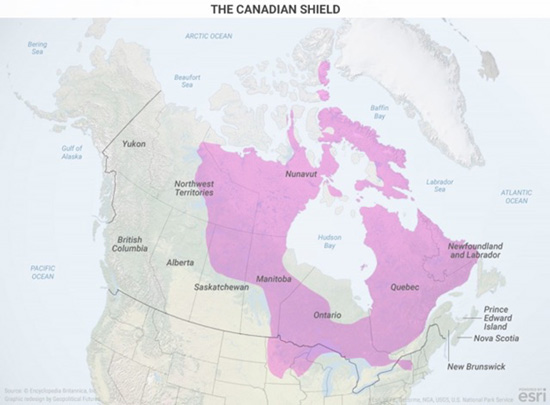 Canadas geographical reality this week in geopolitics investment one crucial geographic feature is the canadian shield it is an area formed mainly of volcanic rock covered with a thin layer of soil gumiabroncs Images